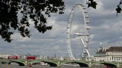 Westminster Bridge,and London Eyer Time Lapse, from victoria tower gardens Stock Footage
