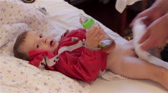 Baby wear a diaper Stock Footage