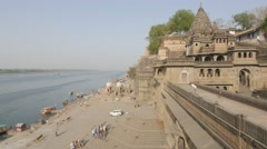 Fort Ahilya and Narmada river,Maheshwar,India Stock Footage
