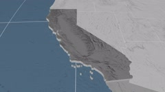 California - United States, region extruded. Bumps Stock Footage