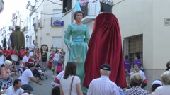 Giant King and Queen Festa Major Summer Festival, Catalonia Spain - stock footage