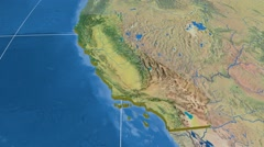 California - United States, region extruded. Topography Stock Footage