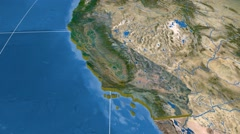 California - United States, region extruded. Satellite Stock Footage