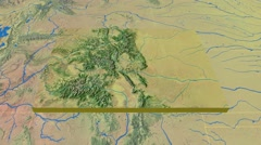 Colorado - United States, region extruded. Topography Stock Footage