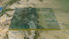 Colorado - United States, region extruded. Satellite Stock Footage