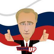 Russian President Vladimir Putin thumb up Piirros