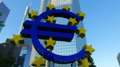 4K Frankfurt am Main financial center ECB EZB big Euro sign Willi Brandt square Stock Footage