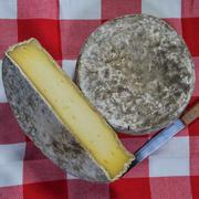 French tomme cheese for sale on a market stall Stock Photos