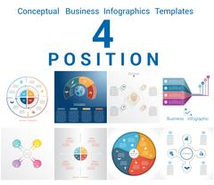 Infographics Business Conceptual Cyclic Processes for Four Positions Stock Illustration