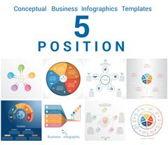 Infographics Business Conceptual Cyclic Processes Five Positions Stock Illustration
