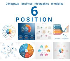 Infographics Business Conceptual Cyclic Processes Six Positions Stock Illustration