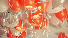 Colorful balloons filled with helium on a children's birthday party Stock Footage