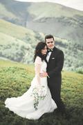 Kissing wedding couple staying over beautiful landscape - stock photo