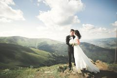Kissing wedding couple staying over beautiful landscape Stock Photos
