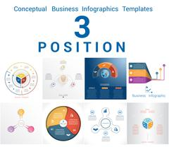 Infographics Business Conceptual Cyclic Processes Three Positions Stock Illustration