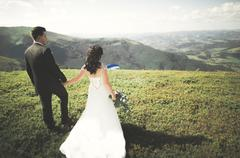 Young wedding couple in love holding hands on the background of mountains - stock photo