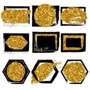 Collection of vector shapes. Black with gold glitter background for business Stock Illustration
