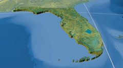 Florida - United States, region extruded. Topography Stock Footage