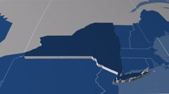 New York - United States, region extruded. Solids Stock Footage
