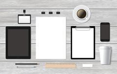 Branding mockup business template with smartphone Stock Illustration