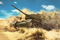 Battle Tank is moving in the desert Stock Illustration