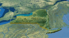 New York - United States, region extruded. Topography Stock Footage