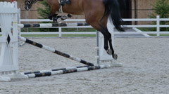 Horse clings to the barrier during the jump Stock Footage