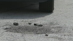Tire Hits Dry Pothole Straight On Stock Footage