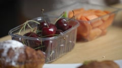 Fruit breakfast cherry and melon Stock Footage