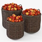 Wicker Basket 07 Walnut Brown Color with Apples 3D Model