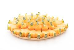 Cantaloupe melon on white Stock Photos