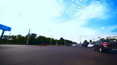 Crossroad with city transport. Low Angle Fisheye Stock Footage