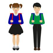 Children with schoolbags Stock Illustration