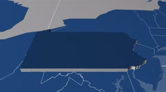 Pennsylvania - United States, region extruded. Solids Stock Footage