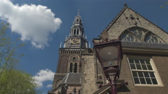 CLOSE UP: Beautiful architecture of old cathedral in the city centre, Amsterdam - stock footage