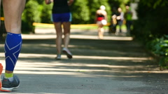 Slow motion. Healthy lifestyle. Legs of runner, sport ream Stock Footage