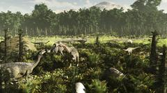 Lurdusaurus and Nigersaurus dinosaurs grazing a prehistoric forest. Stock Illustration