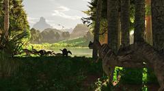 Ceratosaurus dinosaurs stalk a herd of Camptosaurus eating plants. - stock illustration