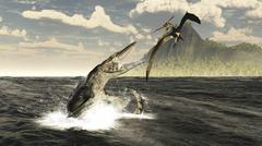 A Tylosaurus jumps out of the water, attacking a Pteranodon. Stock Illustration