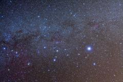 The constellation of Canis Major with nearby deep sky objects. - stock photo