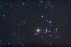 Open cluster Hyades and giant star Aldebaran in the constellation of Taurus. - stock photo