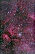 Sadr region of Cygnus around Gamma Cygni. - stock photo