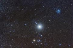 Jupiter in the constellation Taurus with deep sky objects. - stock photo