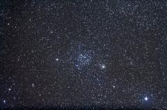 Open clusters Messier 35 and NGC 2158 in the constellation Gemini. - stock photo