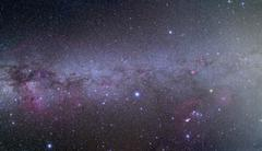 Mosaic of the southern Milky Way from Orion to Vela. Stock Photos