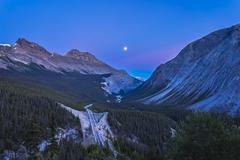 Moon over Icefields Parkway in Alberta, Canada. Stock Photos