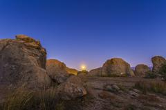 Full moonrise at City of Rocks State Park, New Mexico. Stock Photos