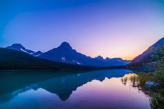 Twilight colors at Waterfowl Lakes, Banff National Park, Canada. Stock Photos