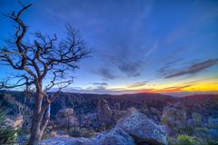 Evening twilight at the Chiricahuas National Monument, Arizona. Stock Photos