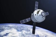 Orion module in orbit above Earth. - stock illustration